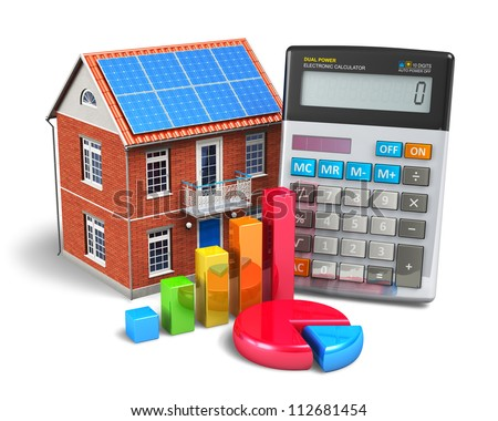 Home finance concept: residential house, office calculator, colorful bar graph and color pie chart isolated on white background - stock photo