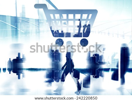 Home Finance Shopping Cart Cityscape Retail Store Concept - stock photo