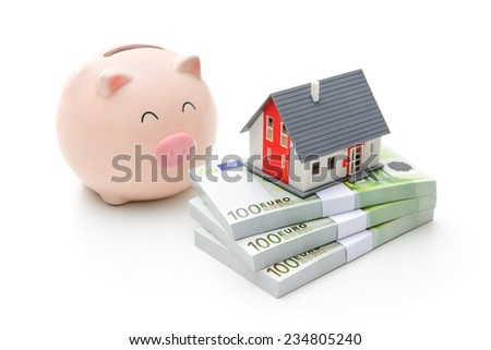 Home finances, building savings and realty investments concept - stock photo
