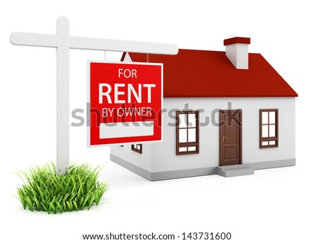 Home for rent on the white background - stock photo