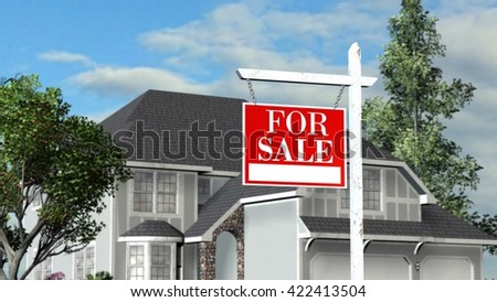 Home For Sale - Real Estate Sign and Beautiful New House - 3D rendering - stock photo