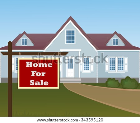 Home For Sale Real Estate Sign in Front of Beautiful New House. - stock photo