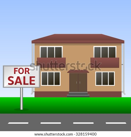 Home for sale Sign and Beautiful New House. Raster version - stock photo