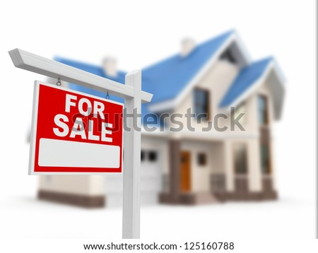 Home for Sale sign on white background. 3d - stock photo