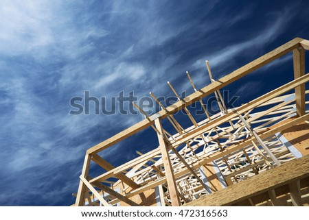 Home framing, New construction of a house/Framed New Construction of a House/Building a new house from the ground up