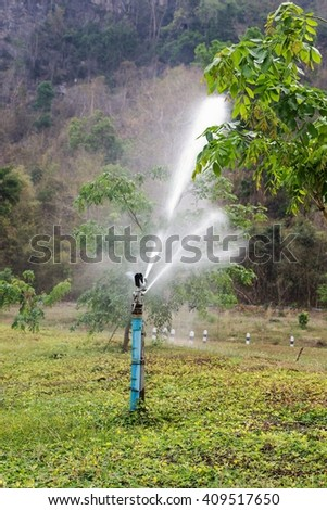 Home garden sprinkler in action