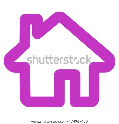 Home glyph icon. Style is stroke flat icon symbol, violet color, white background.