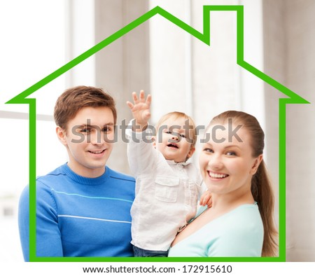 home, happiness and real estate concept - happy smiling family with adorable baby - stock photo