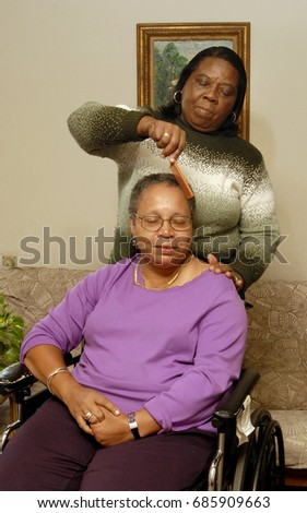 Home Health Care Aide Back Combs Stock Photo (Royalty Free ...