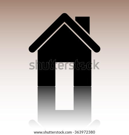 Home icon. Black illustration with reflection. - stock photo