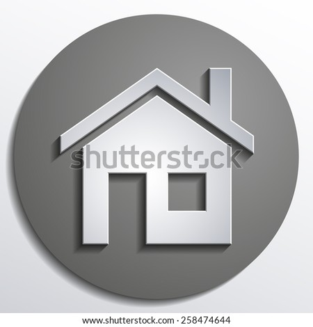 home icon design with isolated on gray background button - stock photo