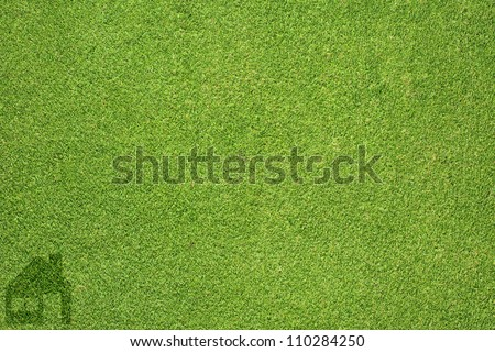 Home icon on green grass texture and  background