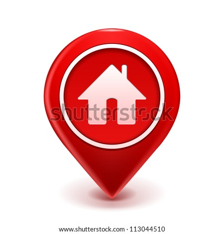 Home Icon Pin Deal. illustration isolated on white - stock photo
