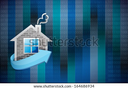 home illustration design over a binary background