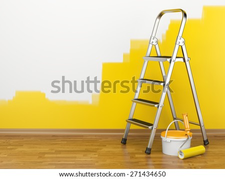 Home Improvement. Ladder, paint can and paint roller near a wall of yellow colour. 3d illustration