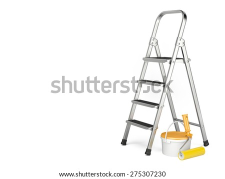 Home Improvement. Ladder, paint can and paint roller near a white wall. 3d illustration - stock photo