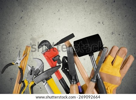 Home Improvement. Tools of a carpenter and construction material. - stock photo