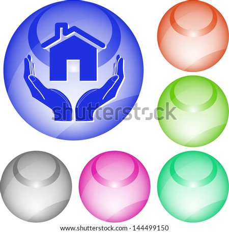 home in hands. Interface element. Raster illustration. - stock photo