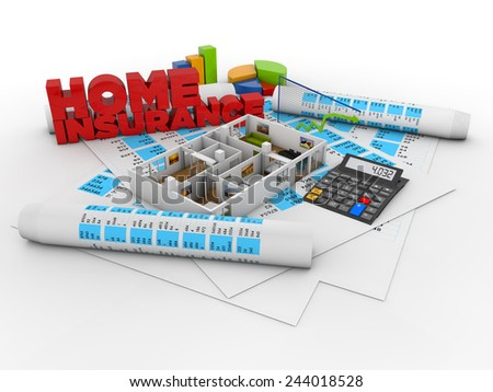 home insurance concept: house structure over financial stuff and the text home insurance isolated - stock photo
