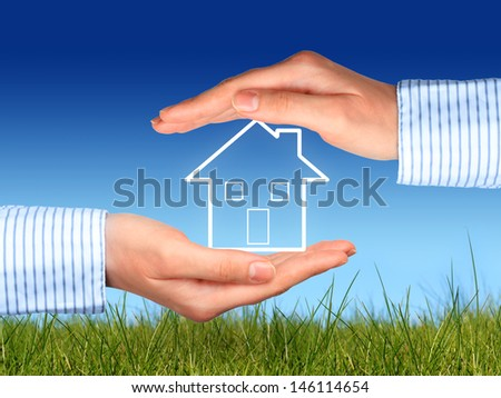 Home insurance concept over nature background.