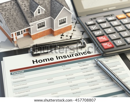 Home insurance form, house, calculator and binders, 3d illustration