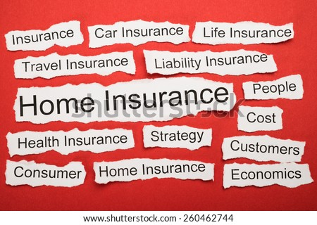 Home Insurance Text On Piece Of Paper Salient Among Other Related Keywords - stock photo