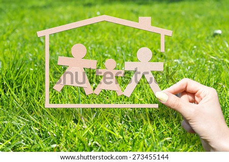 Home insurance to protect your family concept - stock photo