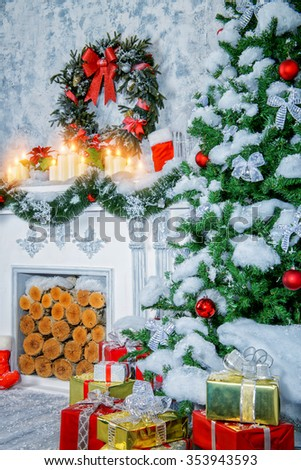 Home interior. A room with a fireplace and Christmas tree, beautifully decorated for Christmas holidays.