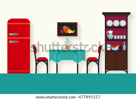 Home interior design for kitchen and sitting rooms .Raster flat illustration .