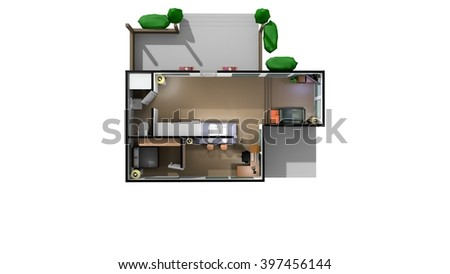 Home Interior Floorpan in a low-poly 3D illustration on a bright background