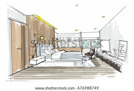 interior design hand drawings. Home Interior Furniture With Sofa, Armchair, Table. Living Room Drawing Design.Free Design Hand Drawings C