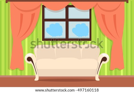 Red curtains set two theater curtains stock vector for Brown couch red curtains