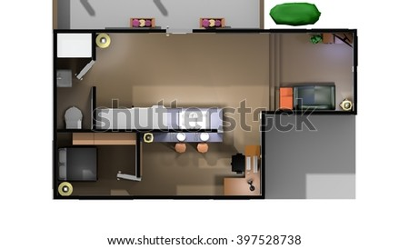 Home Interior in a low-poly 3D illustration on a bright background - stock photo