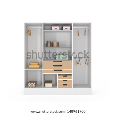 Home Interior Render Wardrobe isolated on white - 3d illustration - stock photo
