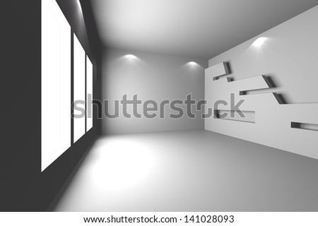 Home interior rendering with empty room color wall and decorated.
