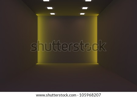 Home interior rendering with empty room for abstract background.