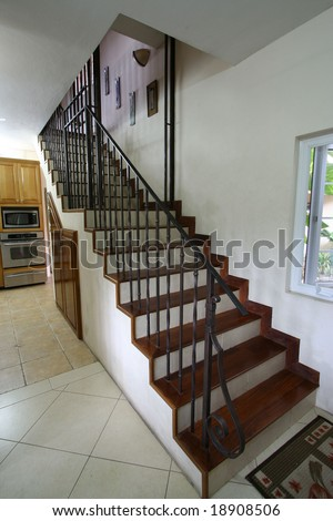 home interior staircase - stock photo