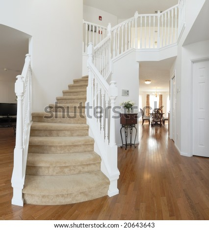 home interior, staircase - stock photo