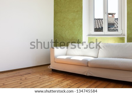 home interior, view white sofa and window