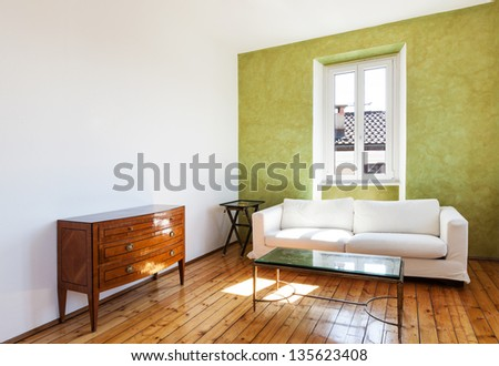 home interior, view white sofa and window - stock photo