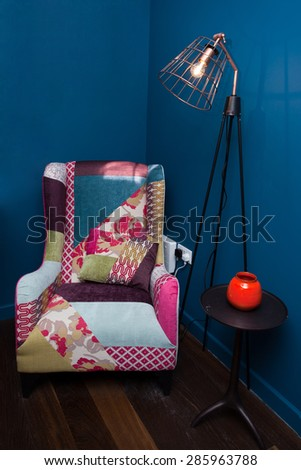 Home interior with an armchair - stock photo