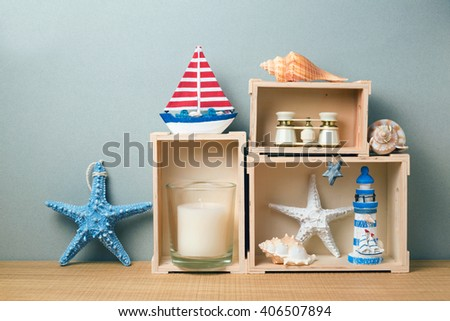 Home interior with summer decor on wooden table - stock photo