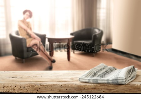 home interior with two armchairs and desk and napkin  - stock photo