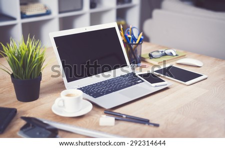 Home interior work place mockup - stock photo