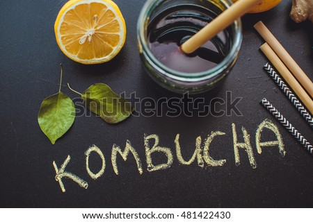 Home Kombucha with lemon and apple on slate with leaves