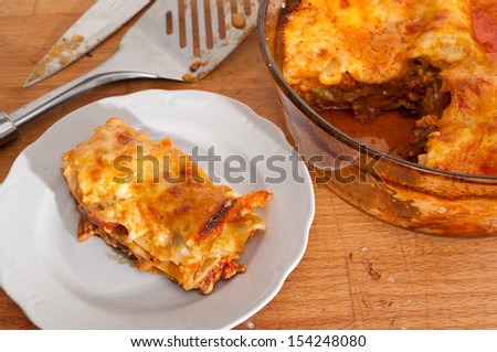 Home lasagne baked straight from the oven
