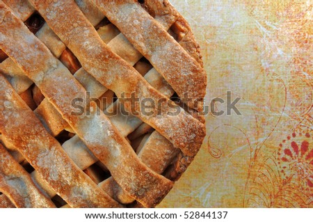 Home made apple pie with lattice top crust. - stock photo