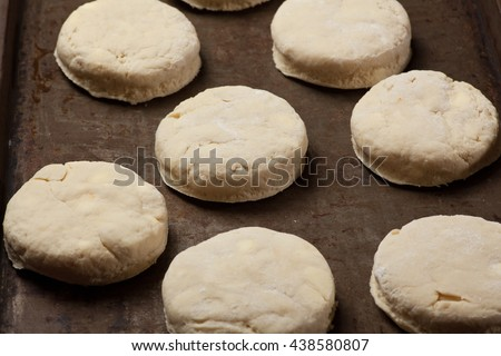 Home made baking powder biscuits, before being put in the oven