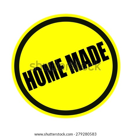 Home made black stamp text on yellow