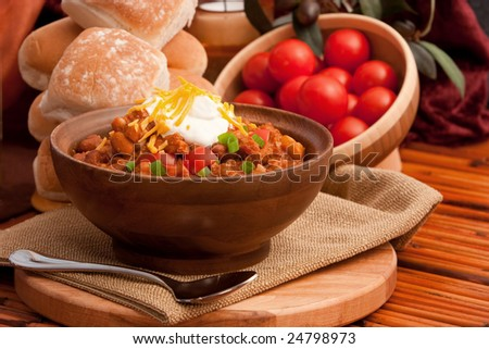 Home Made Bowl Of Chili - stock photo